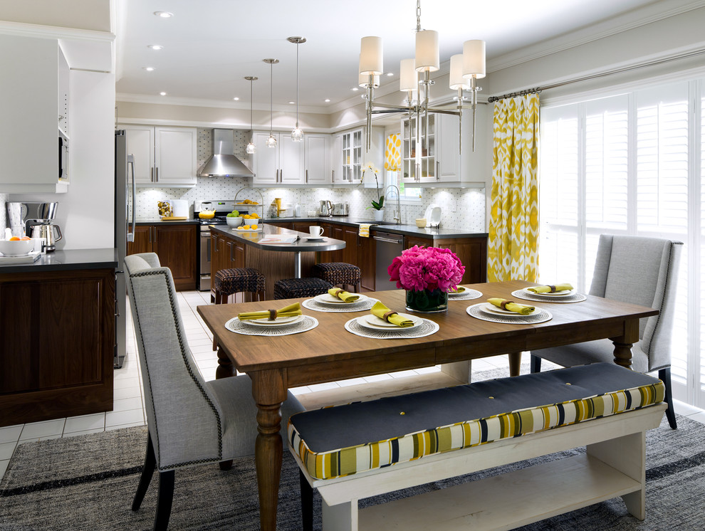Candice Olsen for Transitional Kitchen with Area Rug
