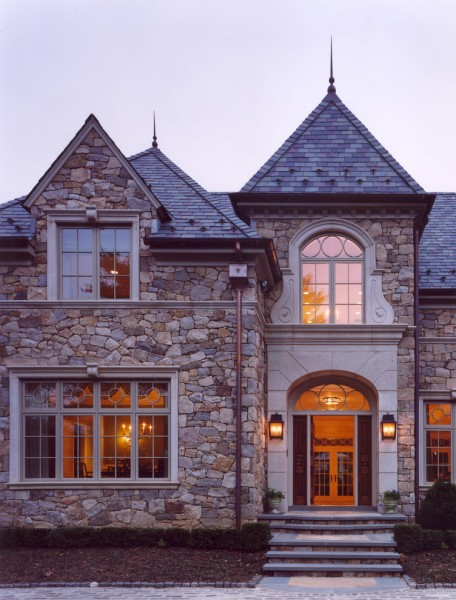 Cantera Stone for Traditional Exterior with Window
