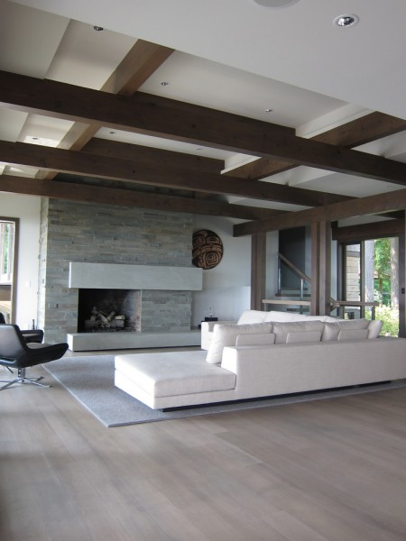 Carlisle Flooring for Contemporary Living Room with Stone Fireplace