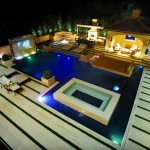 Carlisle Movie Theater for Modern Pool with Landscape Lighting