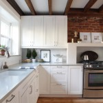 Ceasarstone for Eclectic Kitchen with Exposed Brick