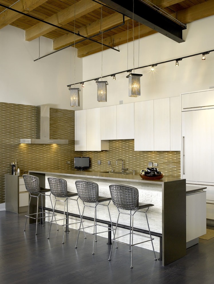 Ceaser Stone for Industrial Kitchen with Ceiling Lighting