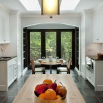 Ceramic Tileworks for Contemporary Kitchen with White Kitchen