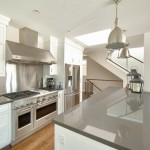 Cesar Stone for Beach Style Kitchen with Stainless Hood
