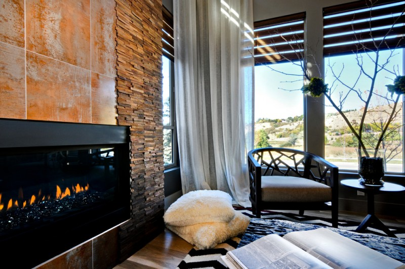 Cesar Stone for Contemporary Living Room with Window Covering Treatments