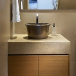 Cesar Stone for Contemporary Powder Room with Wood Cabinets