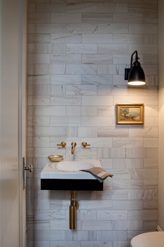 Chicago Faucet Shoppe for Transitional Powder Room with Small Sink