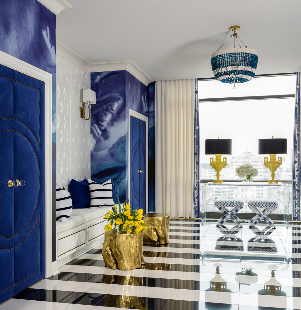 Chinese Pistachio Tree for Contemporary Entry with Blue