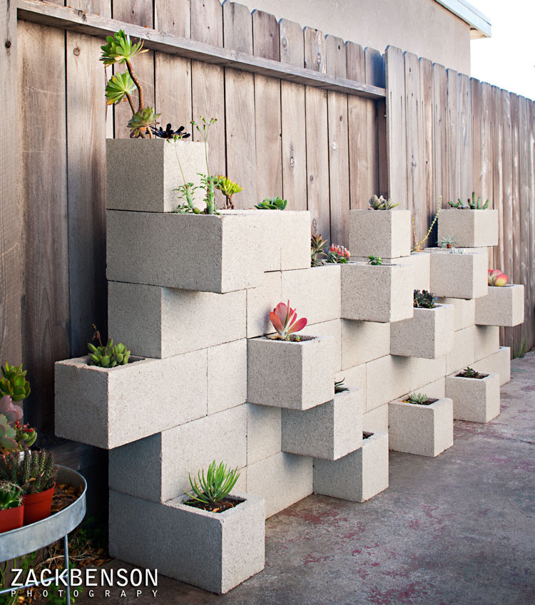 Cinder Block Dimensions for Contemporary Landscape with Herb Garden