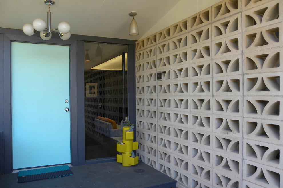 Cinder Block Dimensions for Midcentury Entry with Yellow