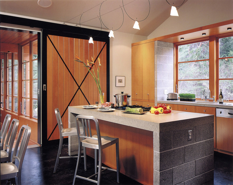 Cinder Block Dimensions for Rustic Kitchen with Chrome Barstools