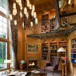 Classical Kusc for Traditional Home Office with Two Level Bookshelves