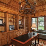 Clovis Glass for Traditional Home Office with Dark Wood Cabinetry