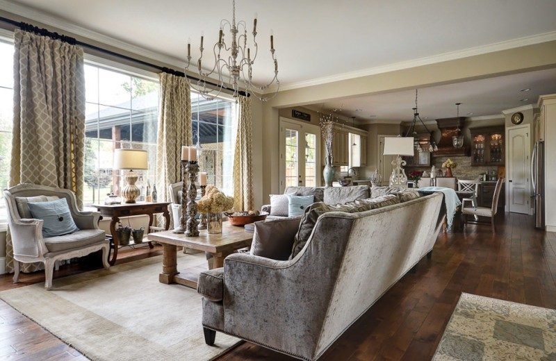 Cobblestone Homes for Traditional Living Room with Rustic Table