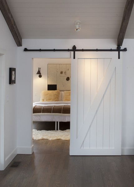 Codel Doors for Farmhouse Bedroom with Wood Ceiling