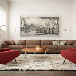 Colefax and Fowler for Contemporary Living Room with Red Armchair