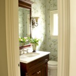 Colefax and Fowler for Traditional Powder Room with Dark Wood Vanity