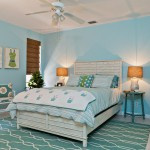 Color Matcher for Beach Style Bedroom with Wood Wall Art