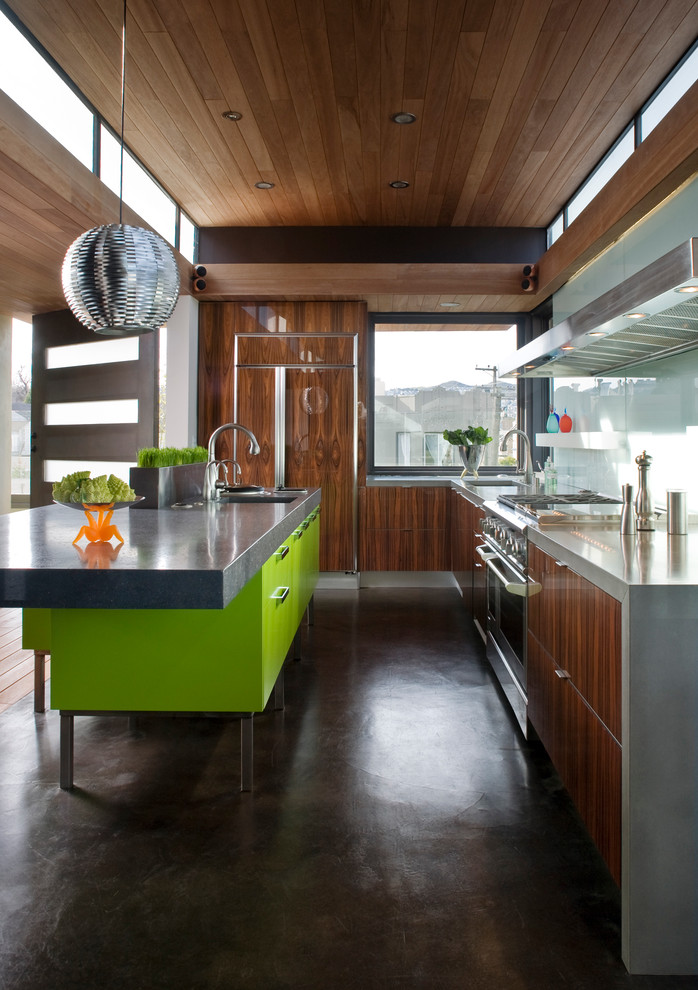 Concrete vs Asphalt for Contemporary Kitchen with Lime Green Kitchen Island