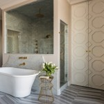 Conestoga Tile for Transitional Bathroom with Wire Stool