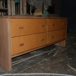 Connells Furniture for Modern Spaces with Oak Credenza Unit with Leather Covered Drawer Fronts