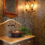 Copper Kettle Nashville for Farmhouse Powder Room with Single Vanity