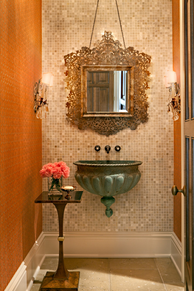 Copper Kettle Nashville for Traditional Powder Room with End Table