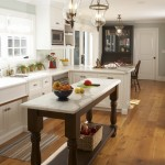 Cost to Refinish Hardwood Floors for Traditional Kitchen with Dark Wood Island