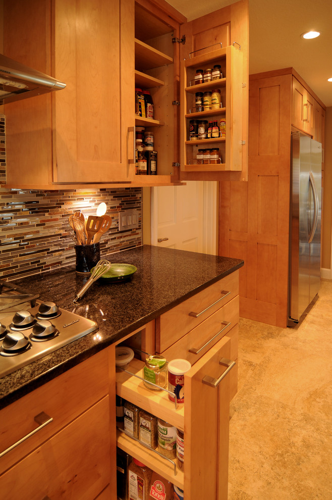 Costco Cabinets for Transitional Kitchen with Spice Racks