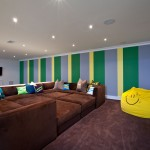 Counch for Contemporary Basement with Vertical Stripes