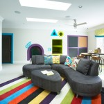Counch for Contemporary Kids with Gray Ottoman