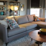 Counch for Midcentury Living Room with Gray Couch
