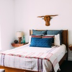 Coyuchi for Eclectic Bedroom with Blue Pillows