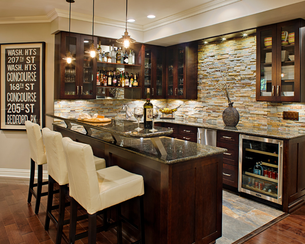 Crate and Barrel Customer Service for Traditional Home Bar with Wood Floors
