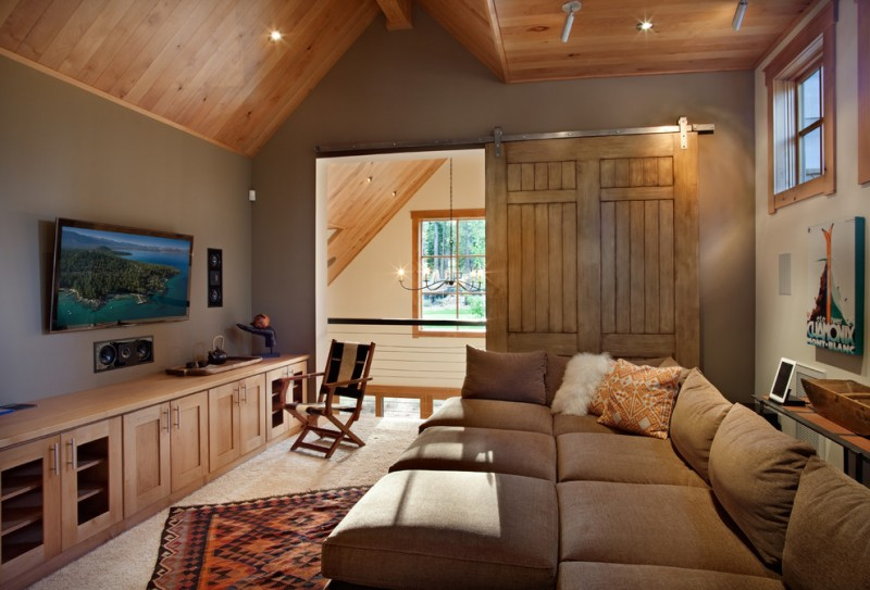 Crestwood Theatre for Contemporary Family Room with Khaki Wall