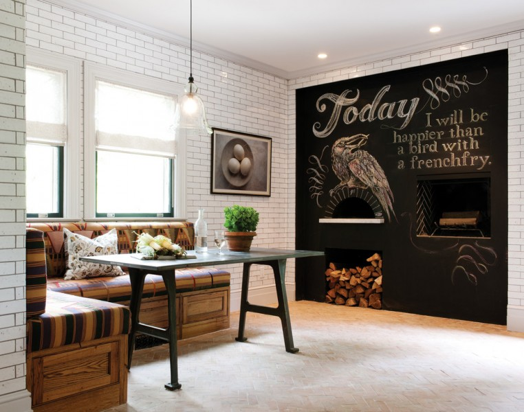 Crown Point Cabinetry for Rustic Dining Room with Cushions