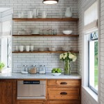 Crown Point Cabinetry for Rustic Kitchen with Stools