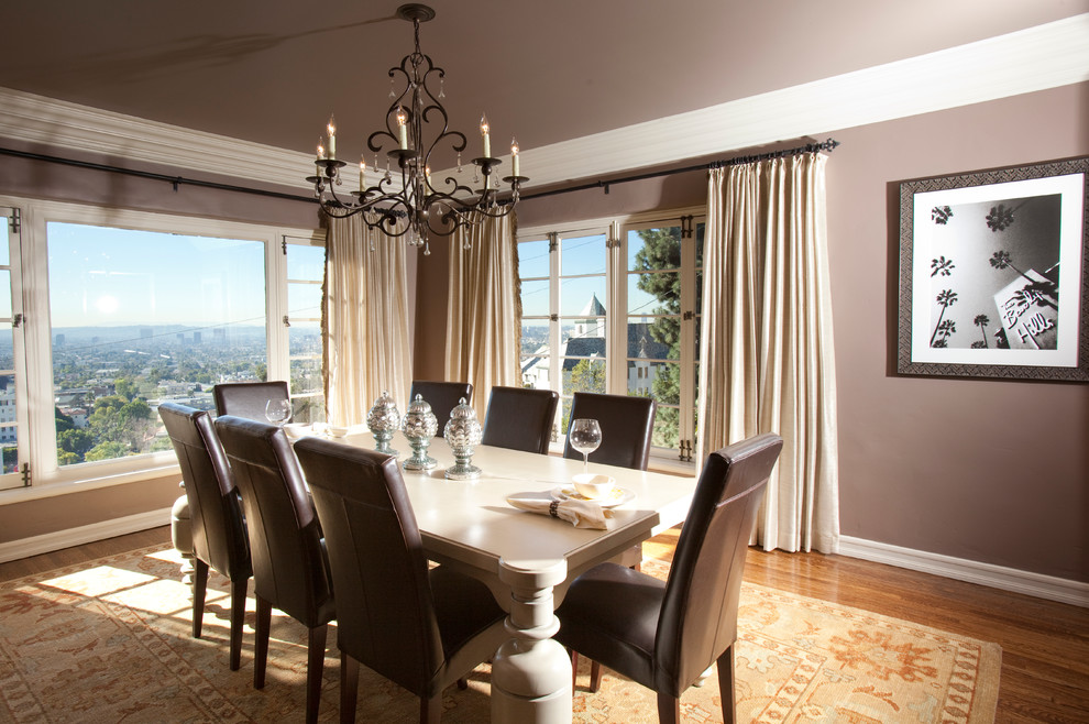 Currey and Company for Transitional Dining Room with Leather Dining Chairs