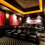 Daltile Las Vegas for Contemporary Home Theater with Black Molding