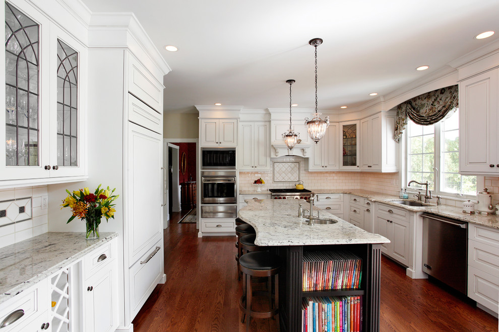 Delicatus White Granite for Traditional Kitchen with Built in Microwave