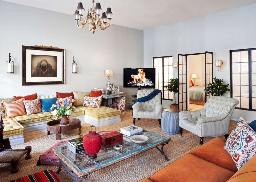 Demolition Depot for Eclectic Living Room with Yellow