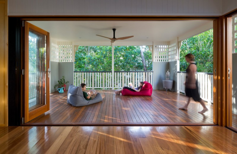 Derr Flooring for Contemporary Deck with Ceiling Fan