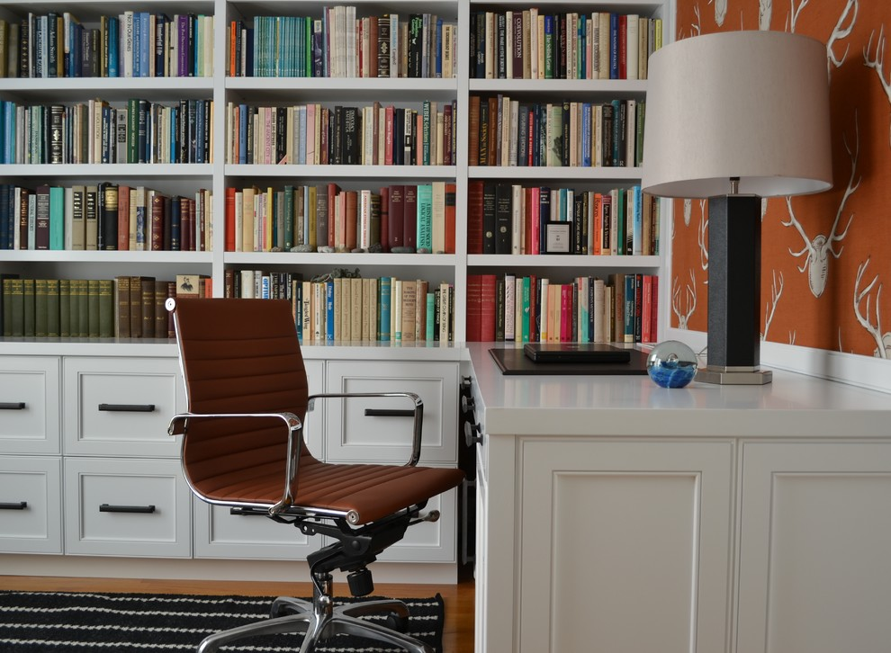 Desk Galore for Eclectic Home Office with Leather Lamp
