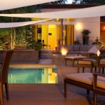 Dewey Furniture for Contemporary Pool with Shade Sail