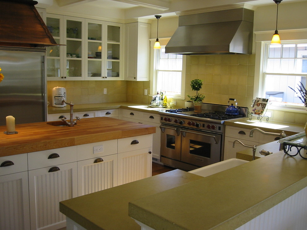Different Types of Countertops for Contemporary Kitchen with Glass Front Cabinets