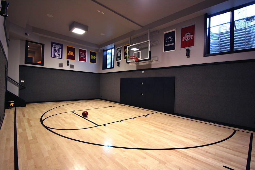 Dimensions of a Basketball Court for Modern Home Gym with Ceiling Light