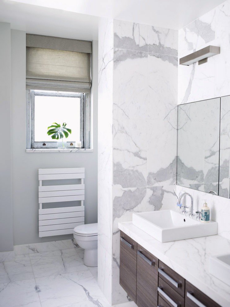 Discover Marble and Granite for Modern Bathroom with Marble Backsplash