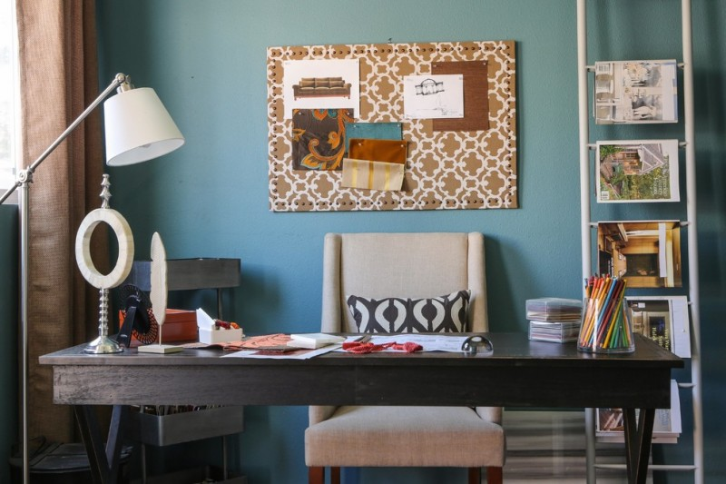 Diy Whiteboard for Contemporary Home Office with Magazine Rack