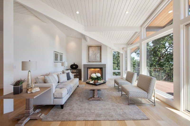 Dolan Lumber for Transitional Living Room with Gray Couch