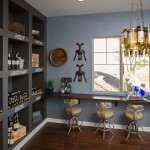 Dorn Homes for Transitional Wine Cellar with Floating Counter